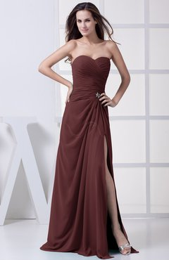 Burgundy Modest A-line Sweetheart Chiffon Floor Length Bridesmaid Dresses