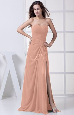 Burnt Orange Modest A-line Sweetheart Chiffon Floor Length Bridesmaid Dresses