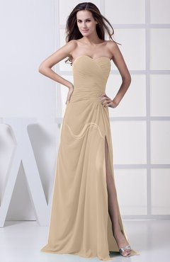 Champagne Modest A-line Sweetheart Chiffon Floor Length Bridesmaid Dresses