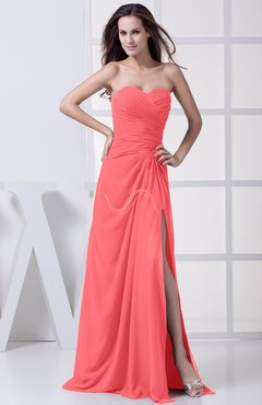 Coral Modest A-line Sweetheart Chiffon Floor Length Bridesmaid Dresses