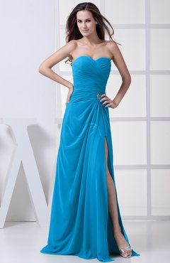 Cornflower Blue Modest A-line Sweetheart Chiffon Floor Length Bridesmaid Dresses
