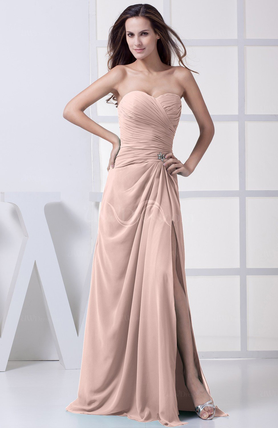 Dusty rose modest a line sweetheart chiffon floor length for Modest a line wedding dresses