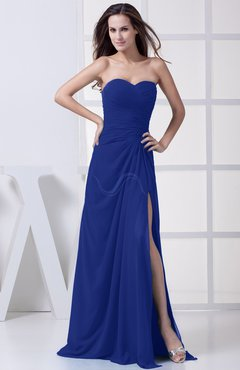 Electric Blue Modest A-line Sweetheart Chiffon Floor Length Bridesmaid Dresses