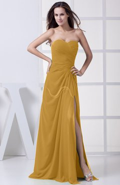 Gold Modest A-line Sweetheart Chiffon Floor Length Bridesmaid Dresses