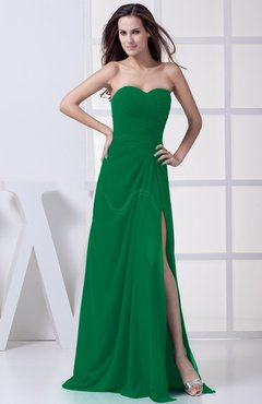 Green Modest A-line Sweetheart Chiffon Floor Length Bridesmaid Dresses
