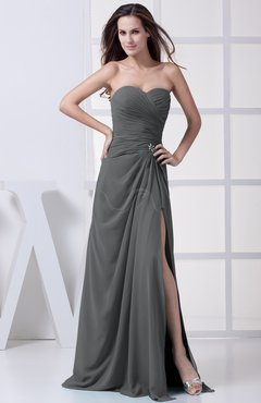 Grey Modest A-line Sweetheart Chiffon Floor Length Bridesmaid Dresses