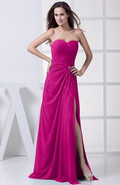 Hot Pink Modest A Line Sweetheart Chiffon Floor Length Bridesmaid Dresses
