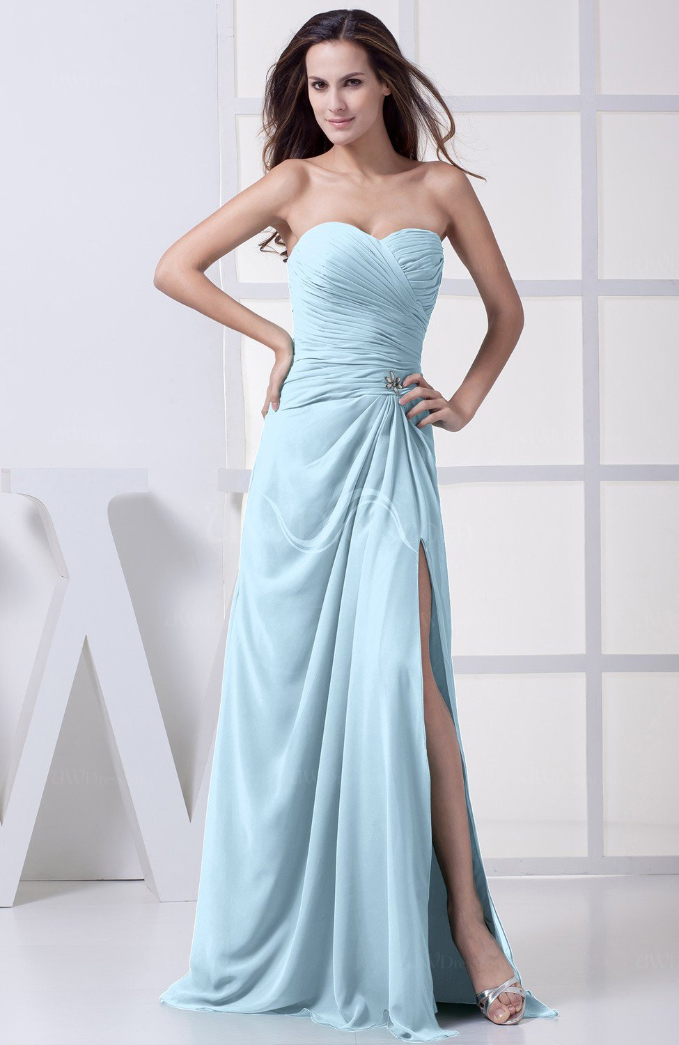 Ice blue modest a line sweetheart chiffon floor length for Ice blue wedding dress