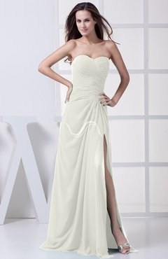 Ivory Modest A-line Sweetheart Chiffon Floor Length Bridesmaid Dresses