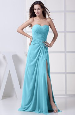 Light Blue Modest A-line Sweetheart Chiffon Floor Length Bridesmaid Dresses