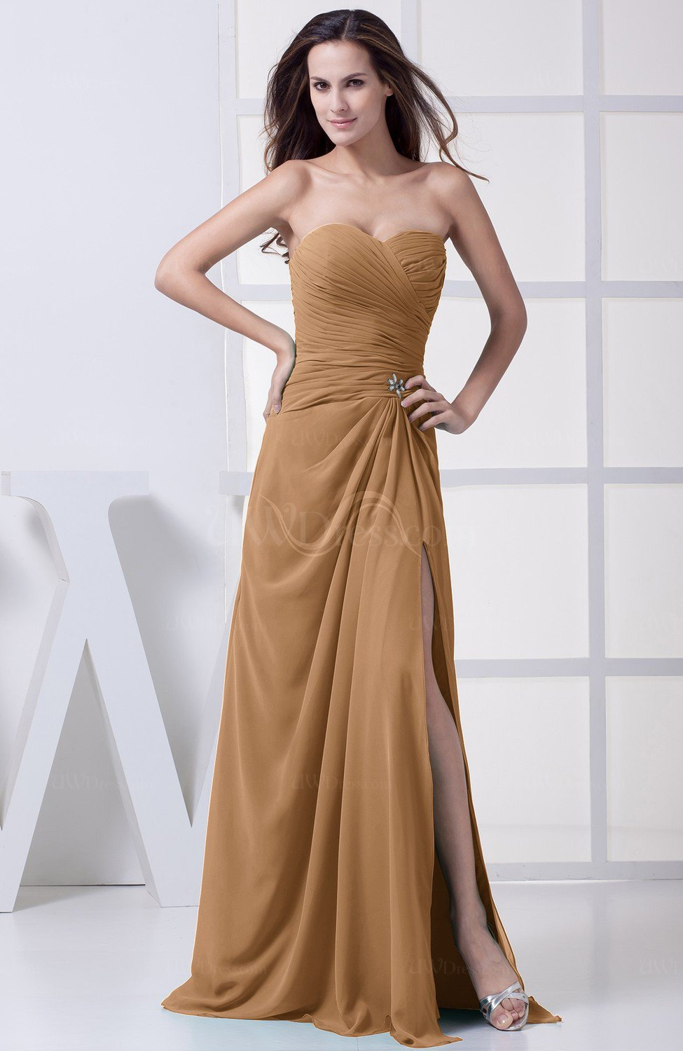 Light Brown Bridesmaid Dresses | Light Brown Modest A Line Sweetheart Chiffon Floor Length Bridesmaid