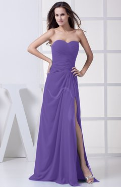 Lilac Modest A-line Sweetheart Chiffon Floor Length Bridesmaid Dresses