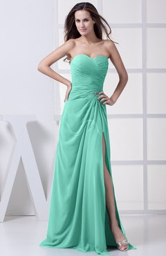 Mint Green Modest A-line Sweetheart Chiffon Floor Length Bridesmaid Dresses
