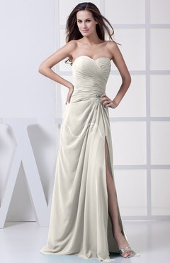 Off White Modest A-line Sweetheart Chiffon Floor Length Bridesmaid Dresses