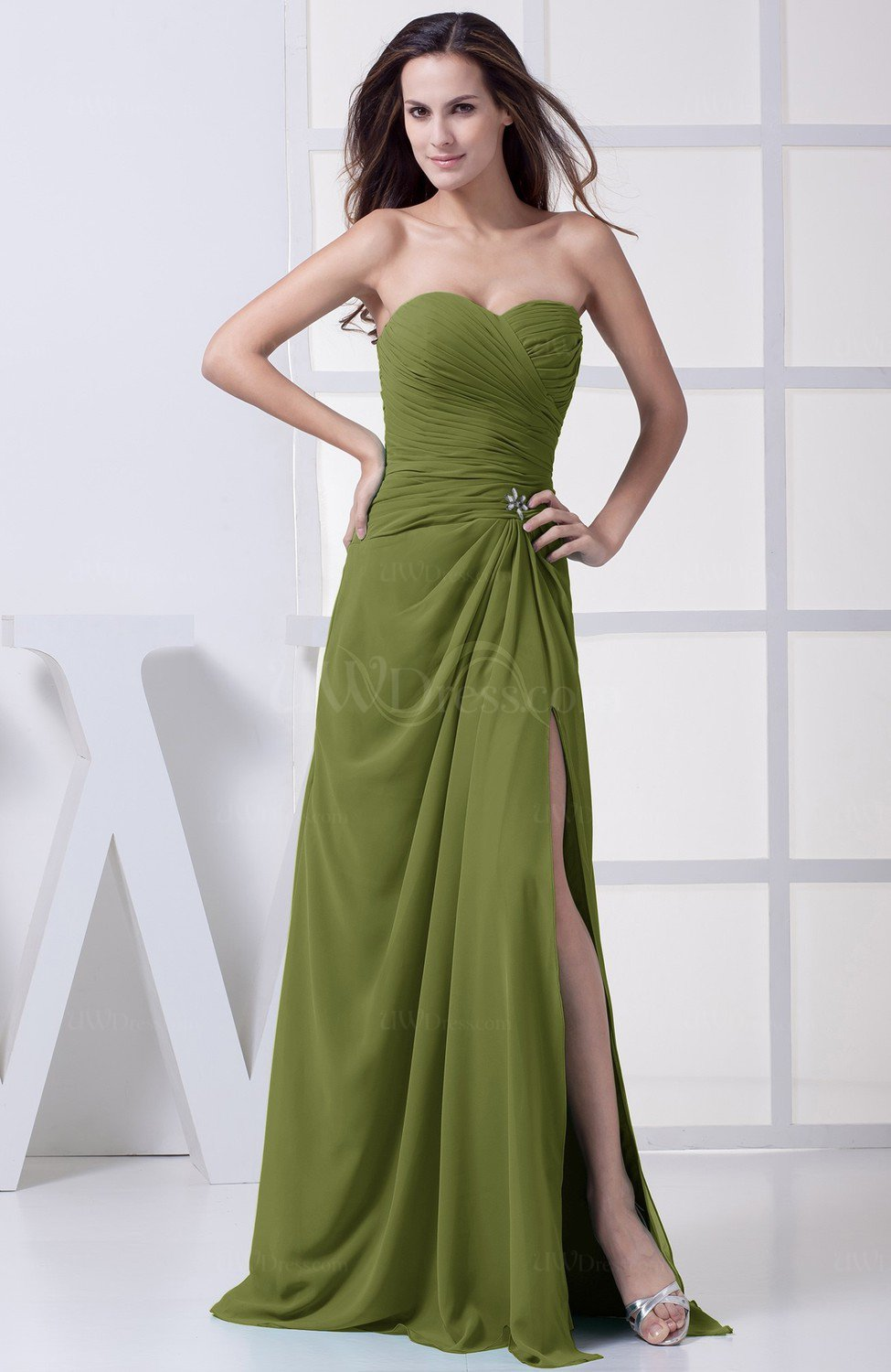 Olive green modest a line sweetheart chiffon floor length for Olive green wedding dresses