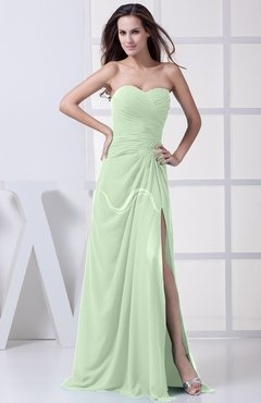 Pale Green Modest A-line Sweetheart Chiffon Floor Length Bridesmaid Dresses