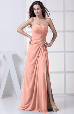 Peach Modest A-line Sweetheart Chiffon Floor Length Bridesmaid Dresses