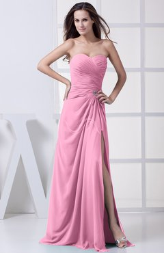 Pink Modest A-line Sweetheart Chiffon Floor Length Bridesmaid Dresses