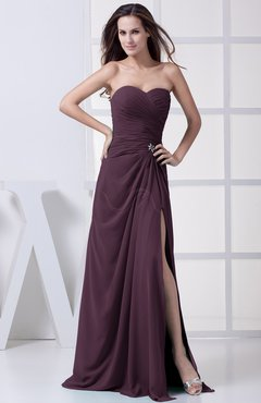 Plum Modest A-line Sweetheart Chiffon Floor Length Bridesmaid Dresses