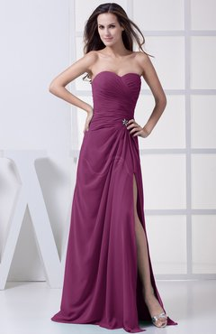 Raspberry Modest A-line Sweetheart Chiffon Floor Length Bridesmaid Dresses