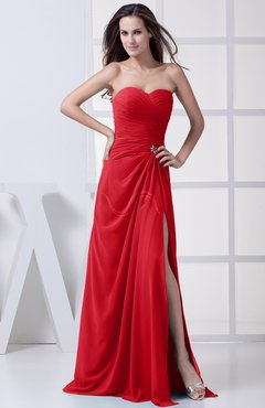 Red Modest A-line Sweetheart Chiffon Floor Length Bridesmaid Dresses