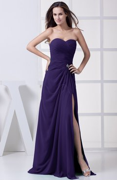 Royal Purple Modest A-line Sweetheart Chiffon Floor Length Bridesmaid Dresses