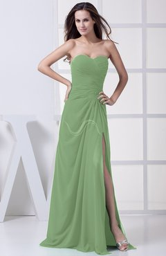 Sage Green Modest A-line Sweetheart Chiffon Floor Length Bridesmaid Dresses