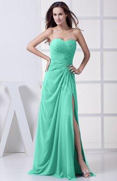 Seafoam Green Modest A Line Sweetheart Chiffon Floor Length Bridesmaid Dresses