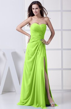 Sharp Green Modest A Line Sweetheart Chiffon Floor Length Bridesmaid Dresses