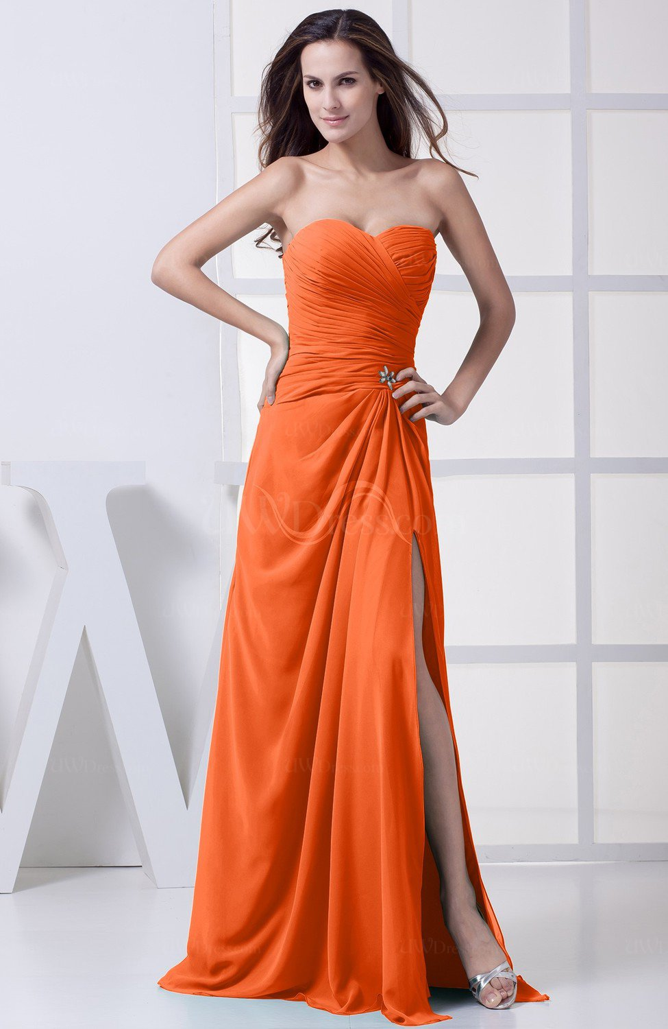 Modest A Line Sweetheart Chiffon Floor Length Bridesmaid Dresses
