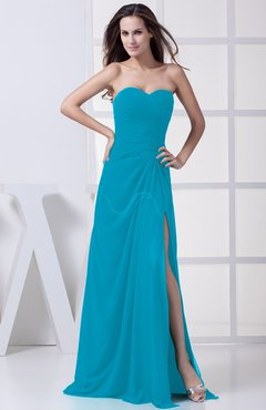 Teal Modest A-line Sweetheart Chiffon Floor Length Bridesmaid Dresses