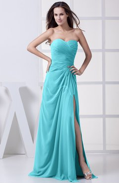 Turquoise Modest A-line Sweetheart Chiffon Floor Length Bridesmaid Dresses