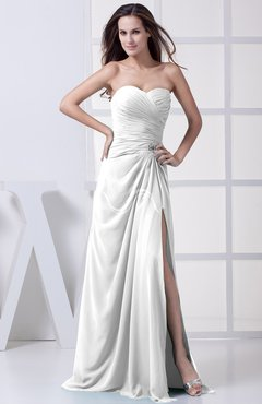 White Modest A-line Sweetheart Chiffon Floor Length Bridesmaid Dresses