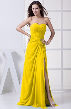Yellow Modest A-line Sweetheart Chiffon Floor Length Bridesmaid Dresses