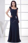 Mature Thick Straps Short Sleeve Chiffon Floor Length Appliques Prom Dresses