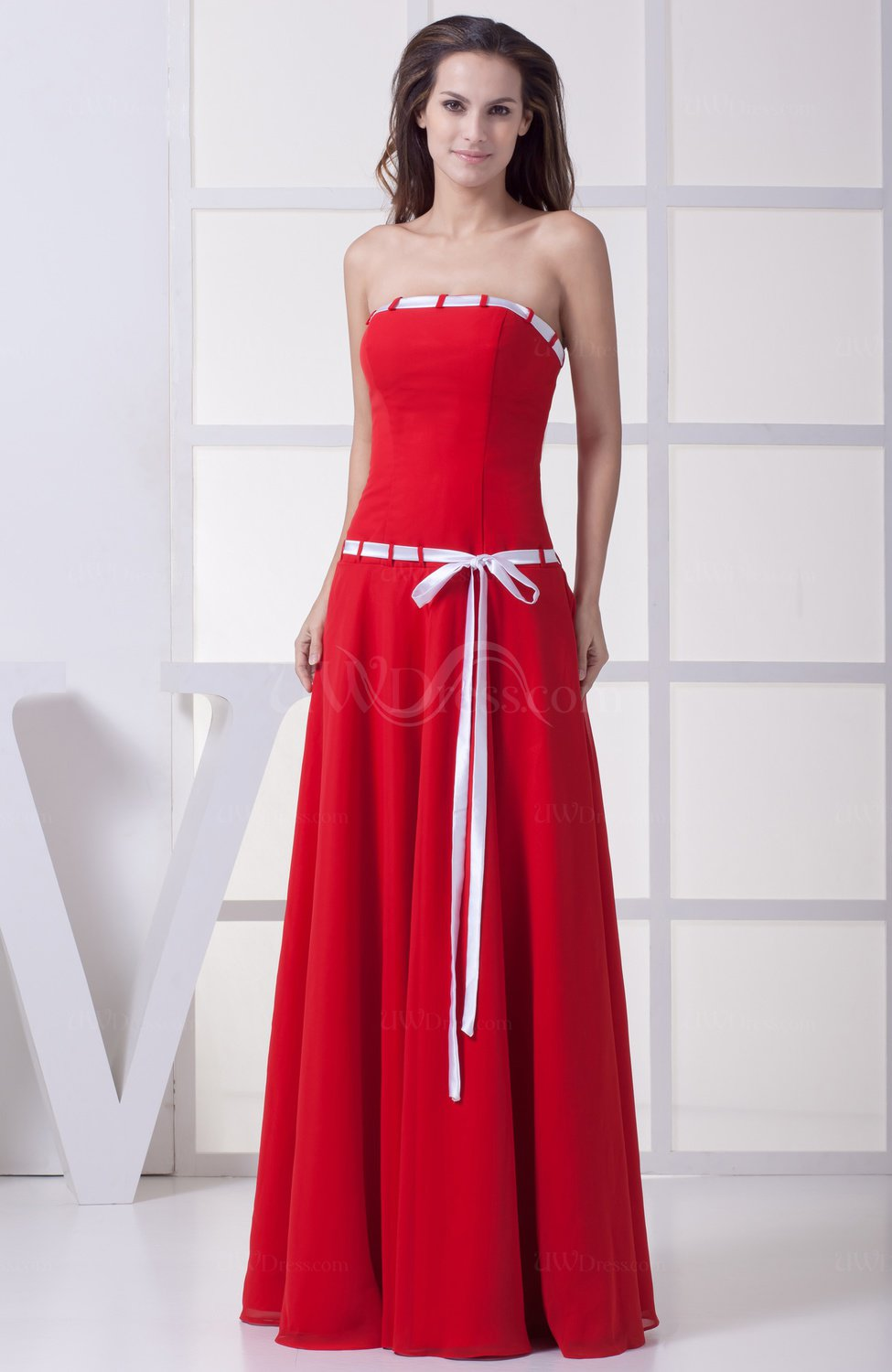 Red simple sleeveless zipper chiffon floor length sash for Floor length dress