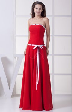 Red Simple Sleeveless Zipper Chiffon Floor Length Sash Bridesmaid Dresses