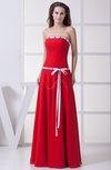 Simple Sleeveless Zipper Chiffon Floor Length Sash Bridesmaid Dresses