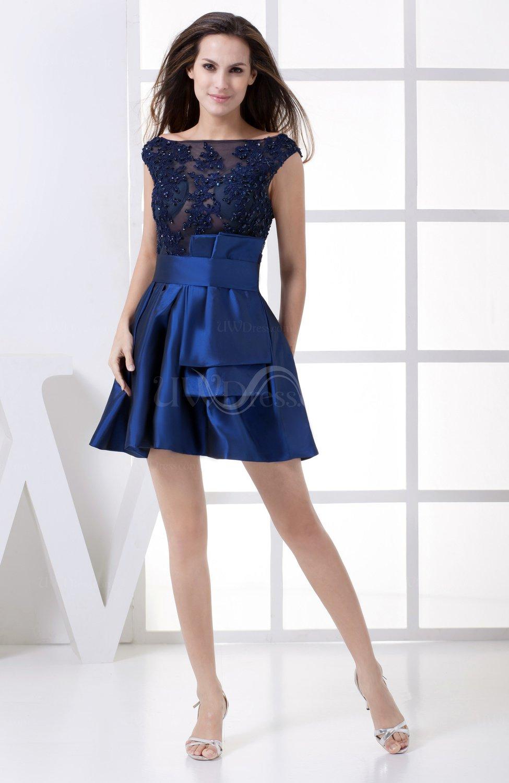 Dark blue elegant a line sheer sleeveless taffeta edging for Blue dresses to wear to a wedding