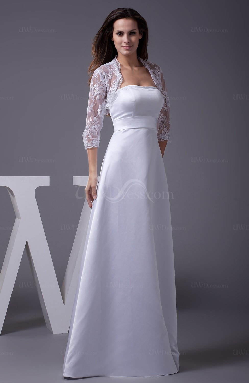 White vintage garden strapless sleeveless zipper floor for Floor length lace wedding dress