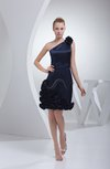 Cute Column Backless Silk Like Satin Knee Length Flower Bridesmaid Dresses