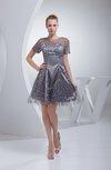 Cute Sheer Short Sleeve Zip up Elastic Woven Satin Homecoming Dresses
