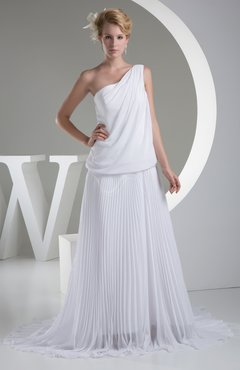 White Simple Church A-line One Shoulder Chiffon Pleated Bridal Gowns