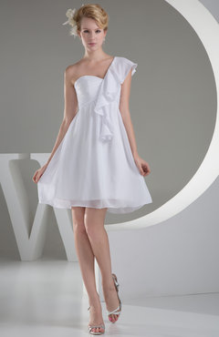White Cute Zip up Chiffon Mini Ruching Club Dresses