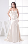 Plain Outdoor A-line Sweetheart Sleeveless Satin Embroidery Bridal Gowns