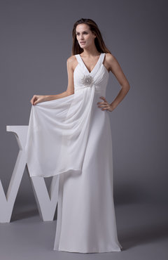 White Elegant Church A-line Zip up Chiffon Floor Length Ruching Bridal Gowns