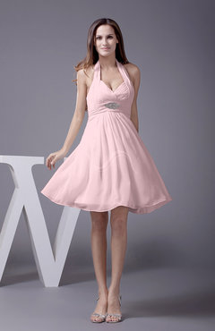Blush Elegant Halter Sleeveless Zip up Knee Length Flower Prom Dresses