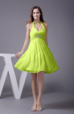Bright Green Elegant Halter Sleeveless Zip up Knee Length Flower Prom Dresses