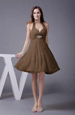 Brown Elegant Halter Sleeveless Zip up Knee Length Flower Prom Dresses