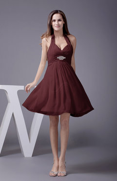 Burgundy Elegant Halter Sleeveless Zip up Knee Length Flower Prom Dresses